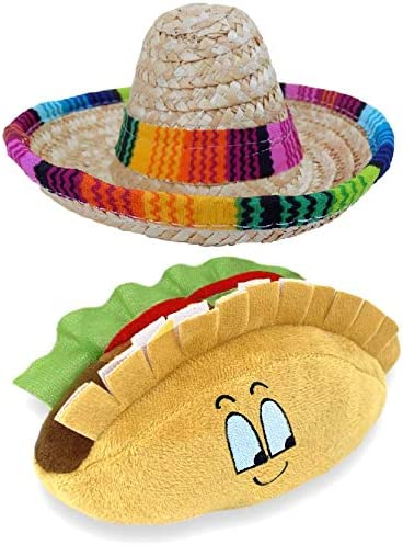 Baja Ponchos Dog Sombrero and Taco Plush Toy Pack Funny Dog Costume and Chew Squeak Toy Chihuahua product image