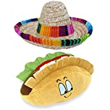Baja Ponchos Dog Sombrero and Taco Plush Toy Pack - Funny Dog Costume and Chew Squeak Toy - Chihuahua Clothes - Mexican Party Decorations