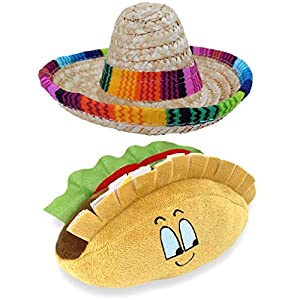 Baja Ponchos Dog Sombrero and Taco Plush Toy Pack – Funny Dog Costume and Chew Squeak Toy – Chihuahua Clothes – Mexican Party Decorations