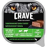 CRAVE Barquettes pour chiens – À l'agneau & au bœuf – Nourriture humide sans céréales riche en protéines – Lot de 10 boîtes de 300g