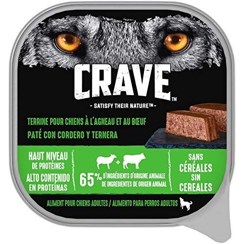 CRAVE Barquette en terrine à l'agneau et au bœuf pour chien adulte, 10 terrines de 300g