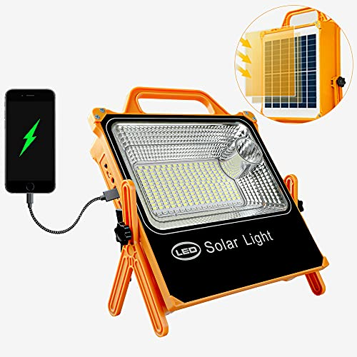 Dephen LED Rechargeable Work Light-4000LM Solar Work Light Waterproof USB Portable Work Light Built in Battery Work Lights for Hiking Emergency Car RepairingOutdoor Solar Camping lights Cordless