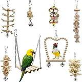 Fayemoon 8 Piezas Columpio de Loro, Columpio de Pájaro, Columpio de Campana de Loro de Pájaro con Campanas, Adecuado para Todo Tipo de Loros y Pájaros