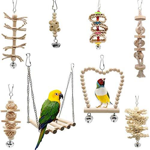Fayemoon 8 Stück Papageienschaukel, Vogelschaukel, Vogel Papagei Glöckchen Swing Schaukel, Geeignet für alle Arten von Papageien und Vögeln