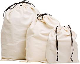MISSLO Set of 3 Cotton Breathable Dust-Proof Drawstring Storage Pouch Multi-Functional Bag (Beige)