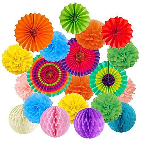 gotyou 20 Piezas Decoracion de Fiesta Conjunto,Bola de la Flor de Papel,Ventiladores de Papel Colgando,Bola de Nido de Abeja Flores,Party Supplies Decoración de Carnaval