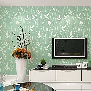 XiaJingJing Simple Plain Bedroom Living Room Modern Nonwoven Wallpaper Warm Leaves Tv Background Wall Paper,Grass-Leaf Spring,Only The Wallpaper