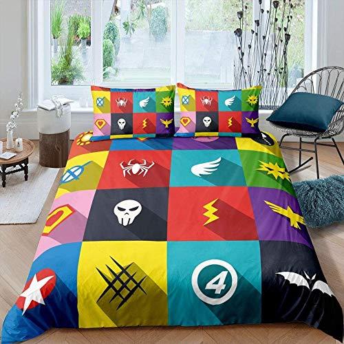 dsgsd Juego de Funda nórdica para niños Creativo simple colorido murciélago araña animal 260x240cm Juego de ropa de cama de estilo simple, funda de edredón suave, sábana, fundas de almohada, ropa de c