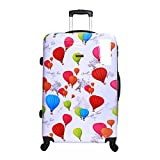 Karabar Hard Shell Extra Large Suitcase Luggage Bag XL 76 cm 4.5 kg 100 litres 4 Spinner Wheels with Integrated Number Lock, Dewberry White