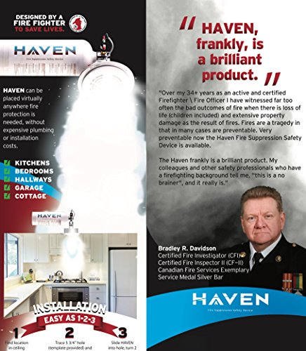 Haven Automatic Heat-Activated Fire Suppression, Non-Toxic, ABC, 5 Year Worry-Free Industrial and Urban Protection -Great for Home, kitchen, Office, Apartment, High Rise Buildings. Get Peace of Mind!
