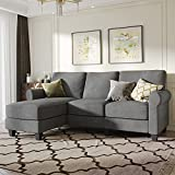 Nolany Custom Convertible Sectional Sofa Couch, L Shaped Sofa Couch with Customized Wood Legs and Pillow for Small Apartment, Grey, Dark Khaki, Green Grey and Brown