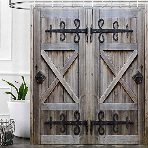 Farmhouse Old Wooden Door Shower Curtain , Garage Vintage Rustic Wood Door Gray Grey Bathroom Shower Curtains Hooks Include 69x70inches