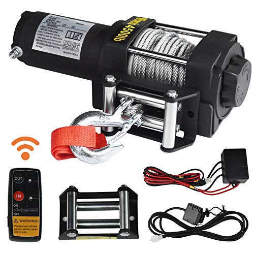 Winches, Hantun 4500lbs Electric Single Line 12V DC Electric Towing Winch for ATV, with Roller Fairlead, Mount Plate and Wireless Handheld Remote