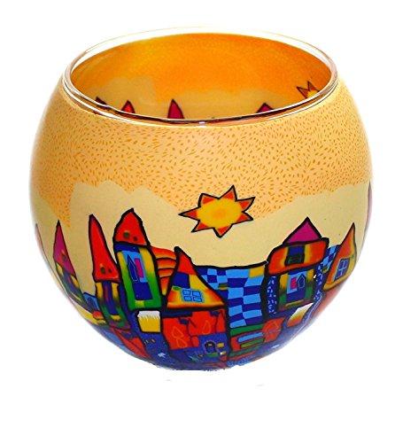 Leuchtglas mit Motiv ohne Wachs 10,5 x 8,5 cm incl. Teelicht Votiv Glas