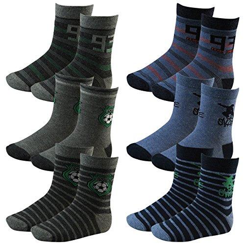Lavazio 6er Pack Kinder Jungen Socken Soccer & Skater Motiv in den Farben blau, grau, Farbe:mehrfarbig, Größe:27-30