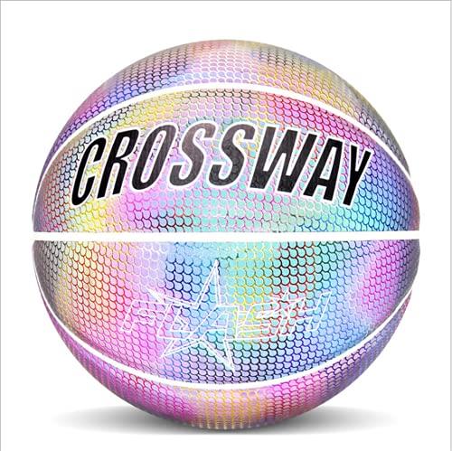 S& Baloncesto, holográfico, reflectante, baloncesto, en piel sintética oscura, juguetes adecuados para niños y niños, una variedad de tamaños oficiales luminosos iridiscentes.