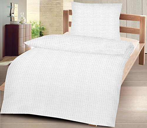 4-Teilige hochwertige Seersucker-Bettwäsche Uni in Weiss GRATIS 1x SCHAL, 2X 135x200 Bettbezug + 2X 80x80 Kissenbezug, 100% Baumwolle