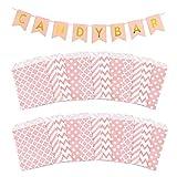 Tucireat Candy Bar Banner + 100 Piezas Bolsas para Chuches Candy Bar Decoracion...