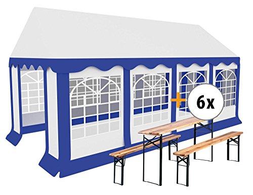 Stagecaptain Bavaria partytent 4 x 8 m (ca. 50 personen, incl. 6 biertuinset, robuust, windbestendige stangen, fixeerbare ingang met ritssluitingen, randbescherming) wit-blauw