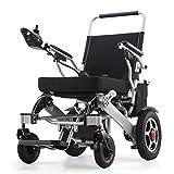 Aluminio silla de ruedas eléctrica, silla de ruedas ligera plegable de edad avanzada, inteligente automático scooter de cuatro ruedas, silla de ruedas multi-funcional, scooter de edad avanzada,Negro