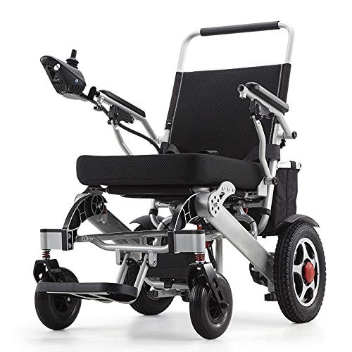 TJZY Aluminium-elektrischer Rollstuhl, Faltbarer Rollstuhl Leicht älterer, automatischer intelligenter Allrad Roller, multifunktionaler Rollstuhl, ältere Roller,Schwarz