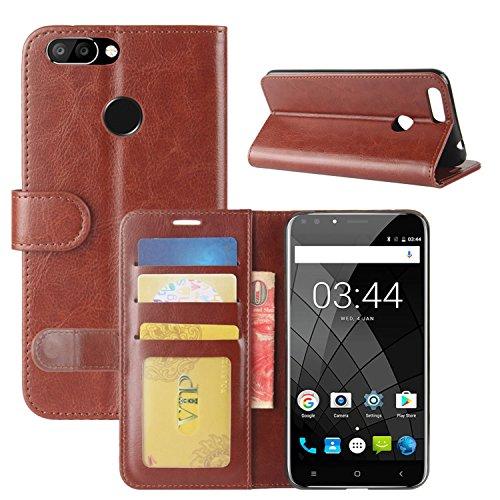 HualuBro Oukitel U22 Hülle, Retro PU Leder Leather Wallet HandyHülle Tasche Schutzhülle Flip Case Cover für Oukitel U22 Smartphone - Braun