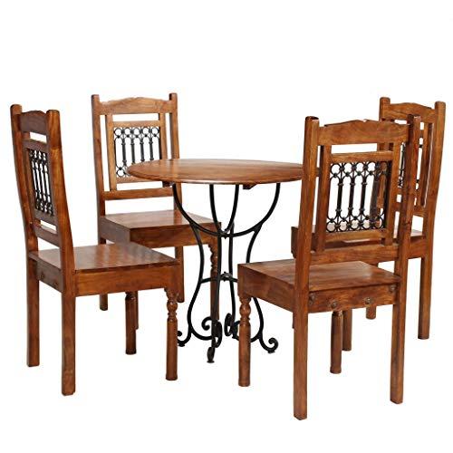 honglianghongshang Möbelgarnituren Küchen- & Esszimmergarnituren Essgruppe 5-TLG. Akazienholz Massiv mit Sheesham-Finish