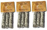 New Age Smudges and Herbs MCWS3 California Mini Sage Wands, 4-Inch, 3 X Pack of 3, White
