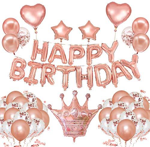 Newlemo Palloncini Compleanno in Oro Rosa, Decorazioni Compleanno 63 Pezzi - Banner con Buon Compleanno, Palloncini in Oro Rosa, Palloncini con Coriandoli, Palloncini in Lamina di Stelle