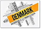Imán para nevera con diseño de la lista de ciudades y pueblos en Dinamarca, diseño de nube de palabras
