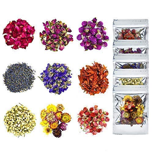YoleShy Dried Flowers, Natural Dried Flower Herbs Kit for Bath, Soap Making,...