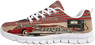 YOLIYANA Cars Jogging Running ShoesOld Timer Vintage Automobile Collectors Revival Nostalgia American Culture Sneakers for Girls Womens,US 5