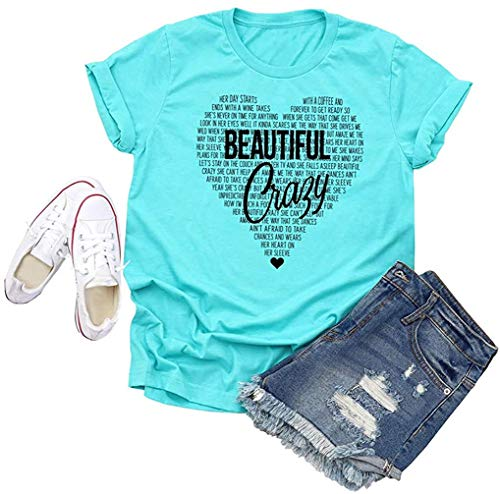 Beautiful Crazy Country Music T-Shirt Women Concert Funny Letter Printed Graphic Casual Tee Tops (Blue, L)