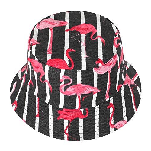 ZLYC Unisex Blumen Pflanze Regenwald-Druck Leinwand Sonnenhut Strandhut Fishermütze,Flamingos, Streifen, Schwarz,Einheitsgröße