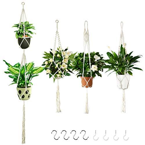 4 Pack Macrame Plant Hanger, Plant Pot Hangers Indoor Outdoor met 8 Hangende Haken, Muur Opknoping Plantenbakken Mand…