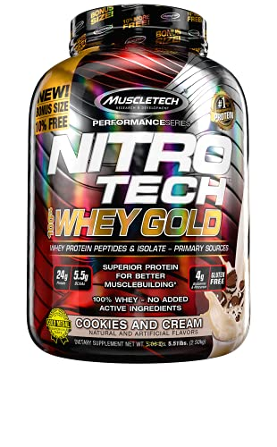 Protein Powders, MuscleTech Nitro-Tech Whey Gold, Whey Protein Powder, Whey Protein Isolate and Peptide, Protein Powder for Women and Men, Cookies and Cream Protein Powder, 2.5 kg (76 Servings)