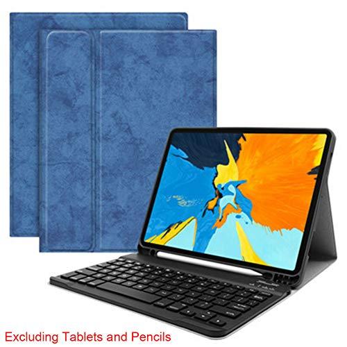 Yzki iPad Keyboard Case, Draadloze Bluetooth Keyboard Cover Case Draadloos toetsenbord met ingebouwde standaard en potlood houder (voor mini5/4,Blauw)