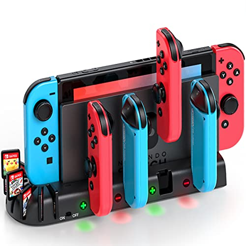 Switch Controller Charging Dock Station Replacement for Nintendo Switch Joy-Con, KDD Switch Joycon Controller Charger Dock Station with 8 Game Storage for Nintendo Switch Joycon Controller & Games