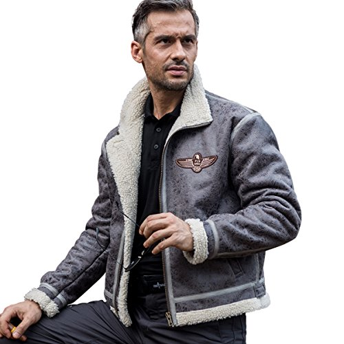 FREE SOLDIER Men's Bomber Jacket Lightweight Winter Fleece Lined Tactical Pilot Jacket with Stand Collar (Gray XXXL)