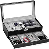 TomCare Upgraded Watch Box Watch Case Jewelry Organizer Holder Jewelry Display Box Case Drawer Sunglasses Storage Earrings Storage Organizer Lockable with Glass Top and PU Leather for Men Women, Black