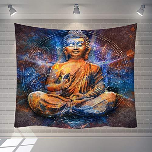 Tapestry Wall Hanging,Hippie Psychedelischen Große Rechteckige Drucken Stoff Wandteppiche, Goldenen Stein Buddha Skulptur Mandala Blumenmuster, Indische Kunst Drucken Wandmalerei, Für Schlafzimmer