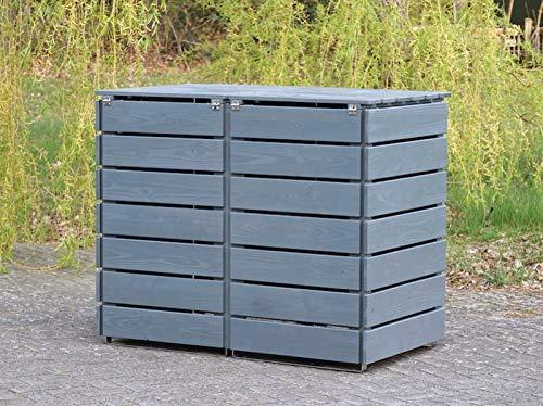 2er Mülltonnenbox / Mülltonnenverkleidung 240 L Holz, Deckend Geölt Tannengrün - 4
