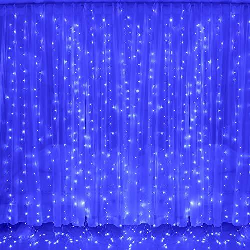 Luces Navidad Led, Cortina de Luces 3x3㎡ Cable de Cobre 300 Led, Resistente al Agua, 31v, 8 Modos de Luz, Navidad Decoración, Fiestas, Bodas, Jardín, Azul