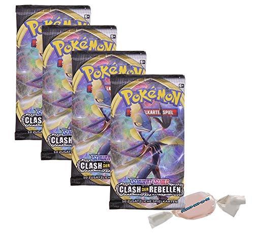 DE Pokemon Schwert & Schild - Clash der Rebellen - 4 Booster - Deutsch zusätzlich 1 x Sticker-und-co Fruchtmix Bonbon