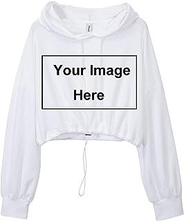 Amazhiyu Women`s Cropped Hoodies Long Sleeve Drawstring Pullover Hooded Sweatshirt Casual Loose Crop Top