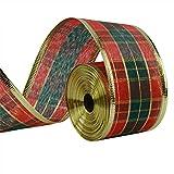 Cinta escocesa de tartán escocesa de 33 pies/10 metros con alambre con bordes de cinta vintage de regalo de Navidad de la cinta de satén para regalo de boda, manualidades, decoración de Navidad