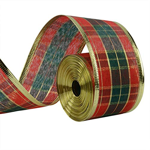 DOXMAL 10M Christmas Scottish Plaid Ribbon Tartan Wired Edged Vintage Wrapping Satin Ribbon for Wreath Present Wedding Arts Crafts Gift Wrapping Christmas Decoration - 33Feet