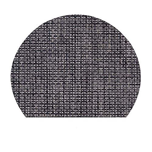 CNYG Mantel individual de PVC semicircular con placa nórdica, mantel individual occidental impermeable con aislamiento térmico de 30 x 25 cm, color negro
