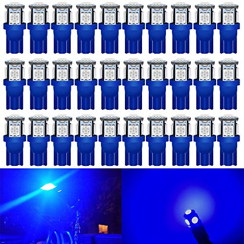 ALOPEE - 30-Pack Blue Replacement Stock #: 194 T10 168 2825 W5W 175 158 Bulb 5050 5 SMD LED Light ,12V Car Interior Lighting For Map Dome Lamp Courtesy Trunk License Plate Dashboard Parking Lights