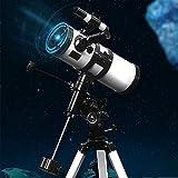Telescopio de astronomía, apertura de 114 mm, telescopios para adultos, telescopio reflector de astronomía, viene con trípode y ocular de 20 mm / 12,5 mm, filtro solar y filtro de luz de luna